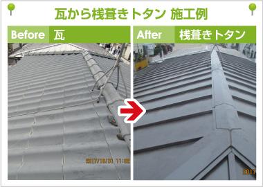 桟葺きトタン屋根
